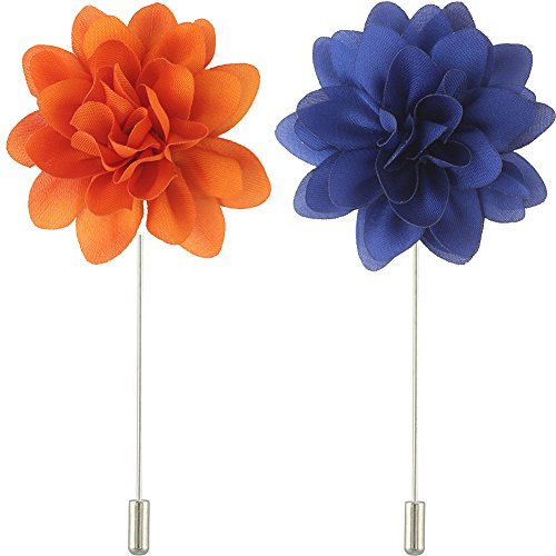 FM FM42 Men's Multi Colors Chiffon Lapel Flower Handmade Boutonniere Pin Begonia (Orange & Blue, Pack of 2) -