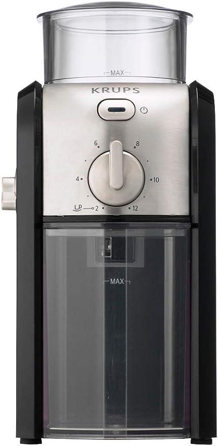 Krups GVX242 Molinillo de café profesional con sistema de muelas con torno-molido y 17 ajustes de triturado, de más fino a más grueso, potencia 100 W, Negro: Amazon.es: Hogar