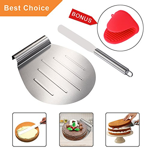 KALREDE Cake Lifter Round 10 Inch - Pizza Peel Pizza Spatula Stainless Steel with 13 Inch Straight Icing Spatula Smoother for Cake, Pizza, Pies, Desserts Bonus a Red Silicone Mitts -Baking Accessories - Food Bar Tray Slide