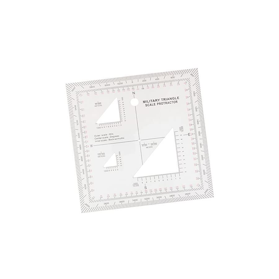 """Jili Online 5""""x5"""" Acrylic Triangle Coordinate Scale and Protractor for Map Reading Land Navigation"""