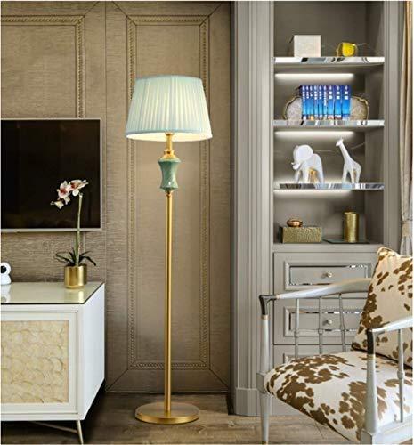 LJJDELDE 銅のリビングルームのフロアランプヨーロッパのミニマリストの現代寝室のリビングルームセラミックランプの読書灯 B07TTLMHYP