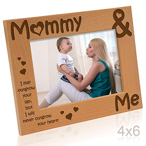 Kate Posh - Mommy & Me Engraved Natural Wood Picture Frame, I Love Mommy Photo Frame, New Baby Gifts, Nursery Picture Frame, New Mom Gifts (4x6-Horizontal)