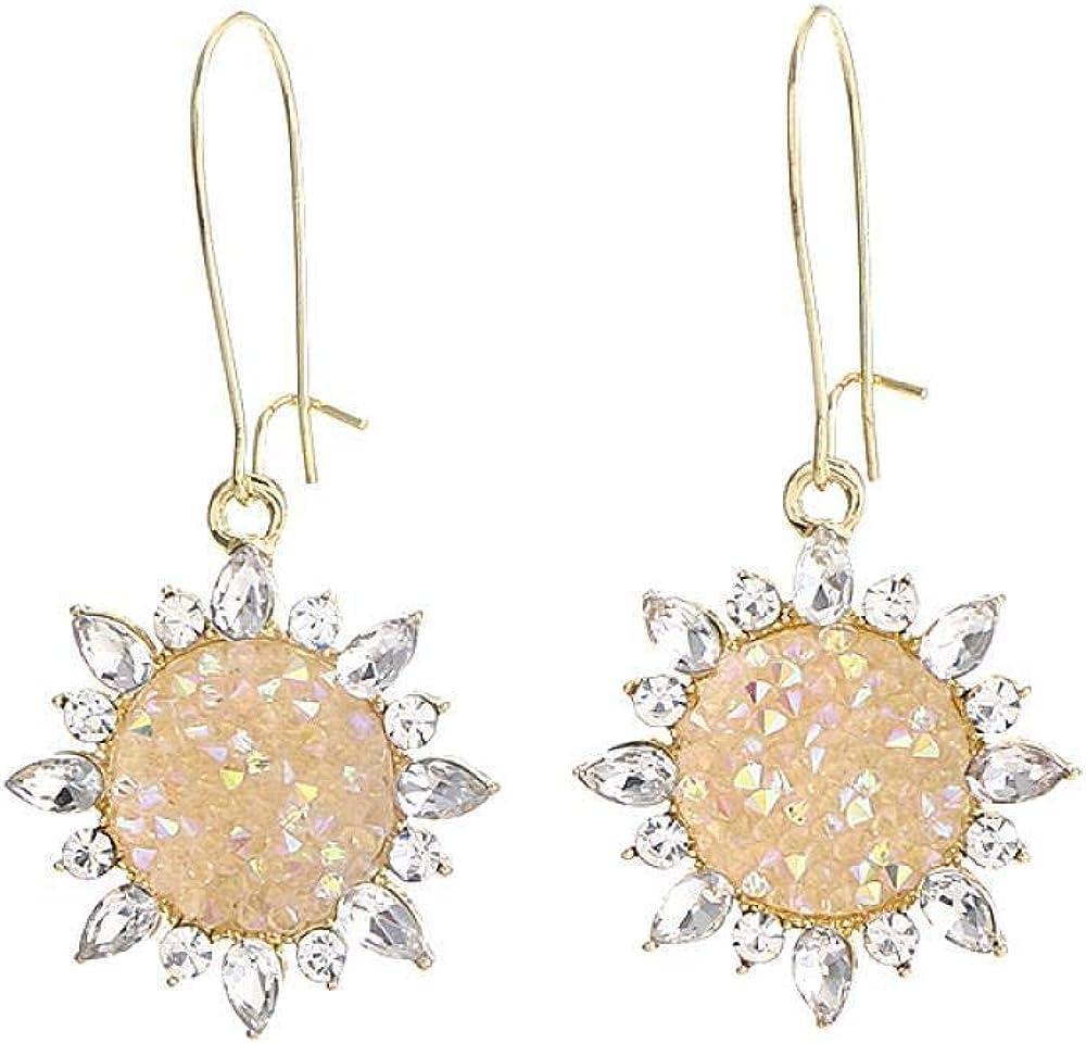 Pendientes de arete con diseño de gema de sol, color champán, con diamantes retro, de temperamento largo, pendientes de hada