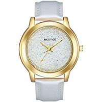 Mestige The Afterglow Watch in White with Swarovski® Crystals (Gold) Gifts Women Girls, Silver Leather Band