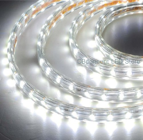 CBConcept 90FT Pure White 120 Volt High Output LED SMD5050 Flexible Flat LED Strip Rope Light - [Christmas Lighting, Indoor / Outdoor rope lighting, Ceiling Light, kitchen Lighting] [Dimmable] [Ready to use] [7/16 Inch Width X 5/16 Inch Thickness] by CBconcept