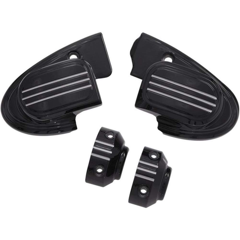 Ciro 70305 Black and Machined Master Cylinder Assembly Cover for 2014-2016 Harley-Davidson FLH Touring Models with Handlebar-Mounted Mirrors