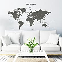 Decowall, DLT-1609G The World peel & stick wall decals stickers(grey_XLarge)