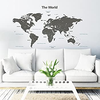High Quality Decowall DLT 1609G Modern Grey World Map Kids Wall Decals Wall Stickers  Peel And Stick