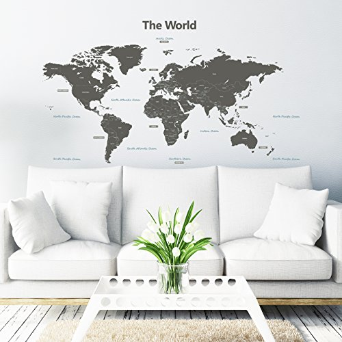Decowall DLT-1609G Modern Grey World Map Kids Wall Decals Wall Stickers Peel and Stick Removable Wall Stickers for Kids Nursery Bedroom Living Room (Xlarge) by Decowall