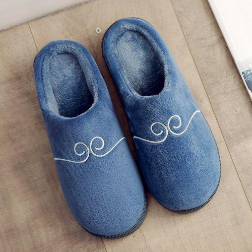 Chambre Chaussons Bleu chaleureux Chaussons Accueil chaud hiver moelleux marine l'hiver Chaussons chaussures L'hiver LaxBa au en antiglisse wfOA1A