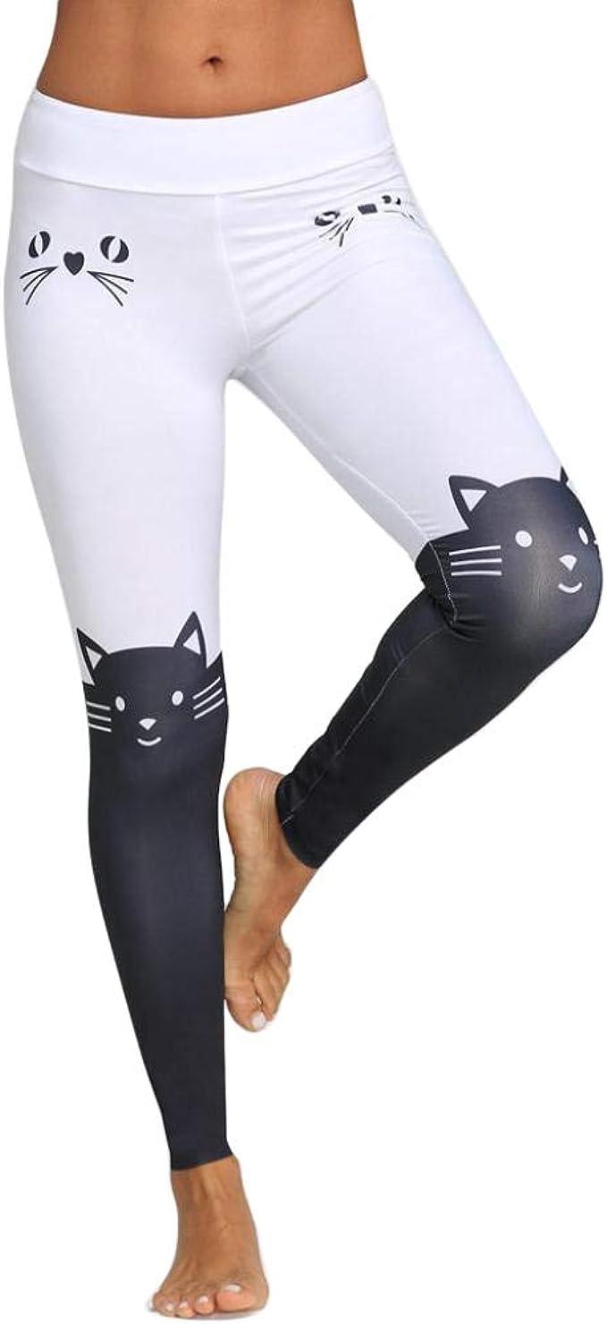 VJGOAL Mujeres Moda Casual Gato Color de la impresión Bloque Flaco Leggings Ejecutar Pilates Montar Yoga Pantalones Elasticidad Pantalones de Fitness: Amazon.es: Ropa y accesorios