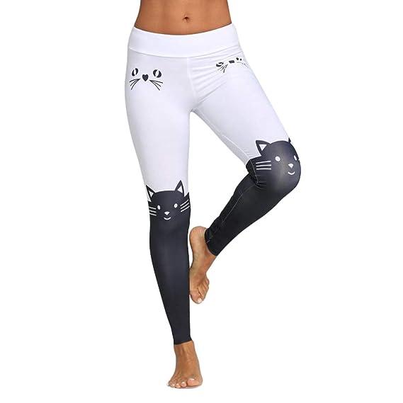 VPASS Mujer Pantalones, Elásticos Estampado de Gato ...