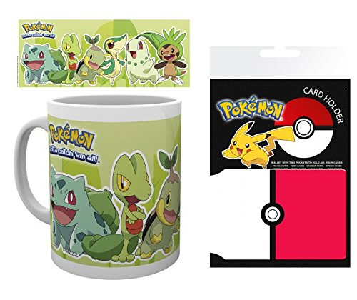 1art1 Set: Pokemon, Grass Types, Bulbasaur, Treecko, Turtwig, Snivy, Chikorita, Chespin Photo Coffee Mug (4x3 inches) and 1 Pokemon, Credit Card Holder Wallet for Fans Collectible (4x3 inches)