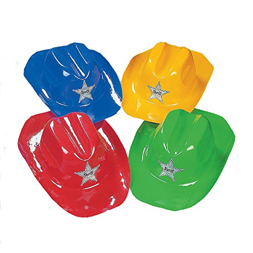 Kid's Bright Color Cowboy Hats (12 Per Package) - With a Silvery Sheriff's Star. by Fun Express