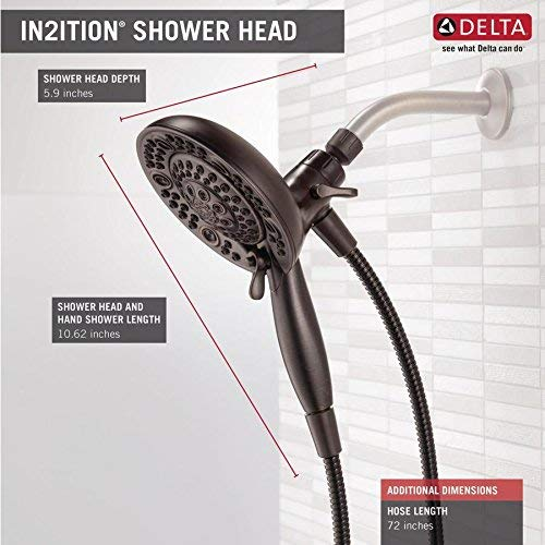 Venetian Bronze Finish Delta 75588RB In2ition 2.5 GPM Dual Hand Held Rain Shower Heads 2-In-1 Combo With Holder and 72 Inch Hose