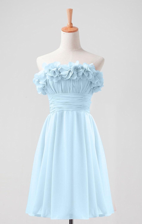 Beautiful Flowers Appliques Pleated Empire Waist Short Chiffon Evening Dress