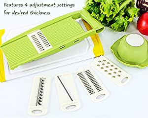 Hand Mandoline Slicer Set 5 in 1, Kitchen Vegetable Fruit Julienne Slicer Cutter Grater with Premium Stainless Steel Blades