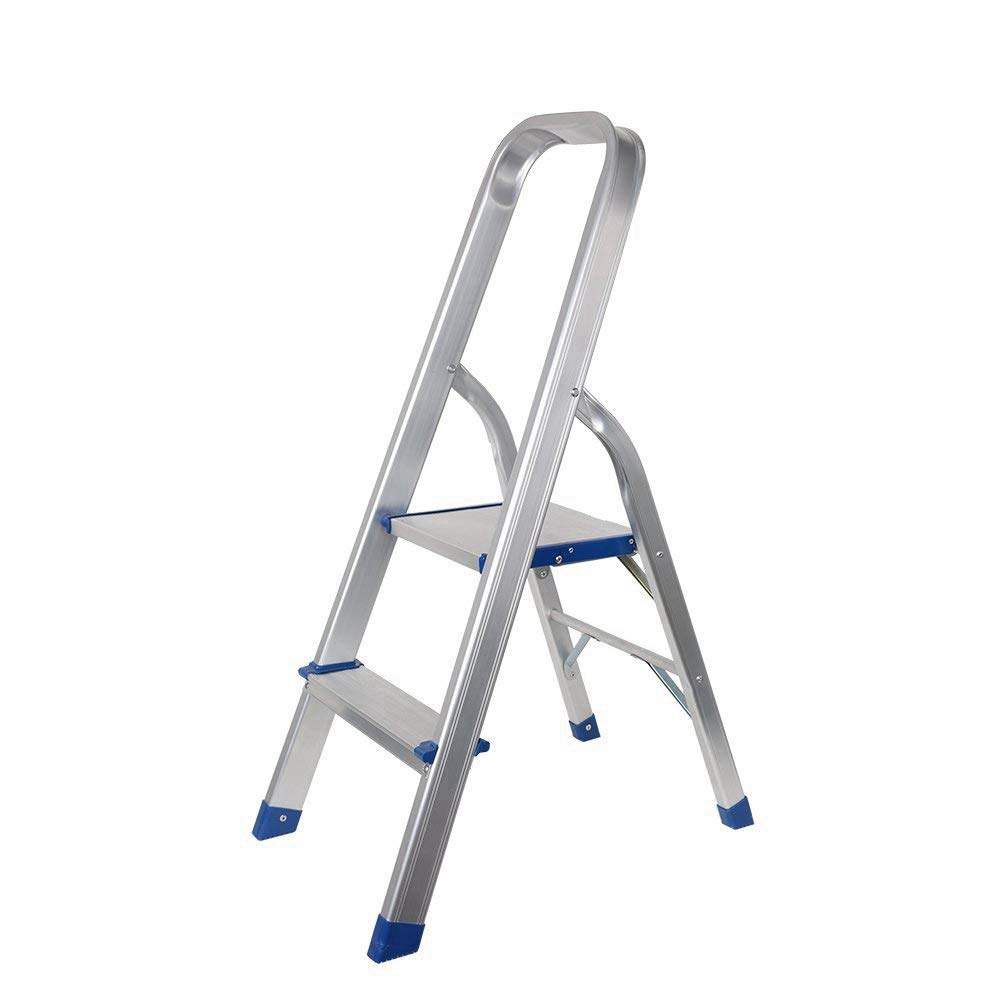 Livebest 2 Step Ladder Folding 2 Step Stool 330 lb Heavy Duty with Non-Slip Safety Rails Work Platform,Perfect for Home,School,Office,Aluminium