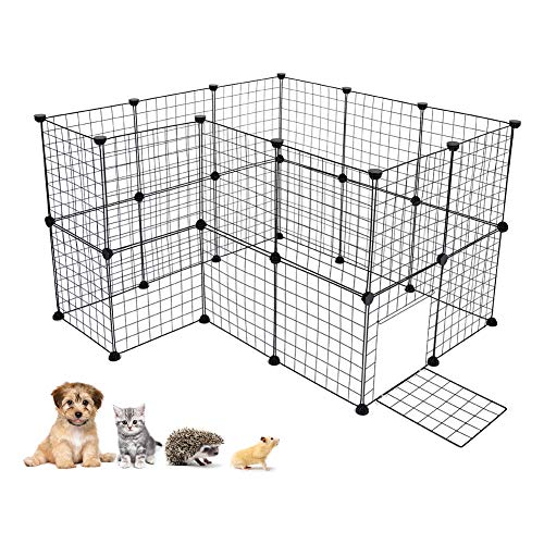 Cocoarm Dogs Kennel Portable Pet Playpen Puppy Fence Indoor Outdoor Dog Pen Small Animal DIY Metal Wire Grid Crate for Guinea Pig Cat Rabbit Bunny Ferret, Includes Door and Cable Ties, 24 Panels