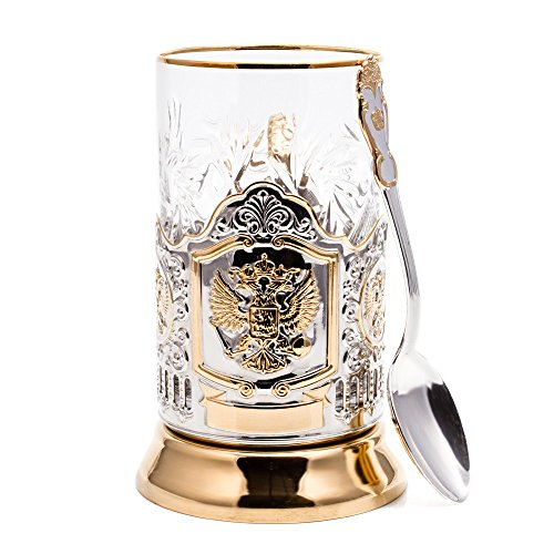Russian Federation Coat of Arms Gold Plated Classic Russian Tea Glass Holder / Russian Podstakannik for Hot or Cold Liquids