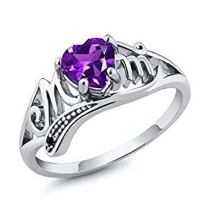 Sterling Silver Heart Shape Mothers Day Natural Amethyst and Black Diamond Mom Ring