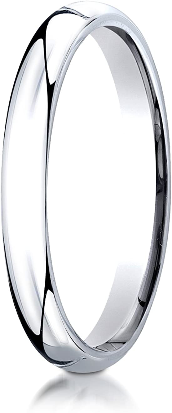 Benchmark 14K White Gold 3mm Slightly Domed Super Light Comfort-Fit Wedding Band Ring (Sizes 4 - 15 )