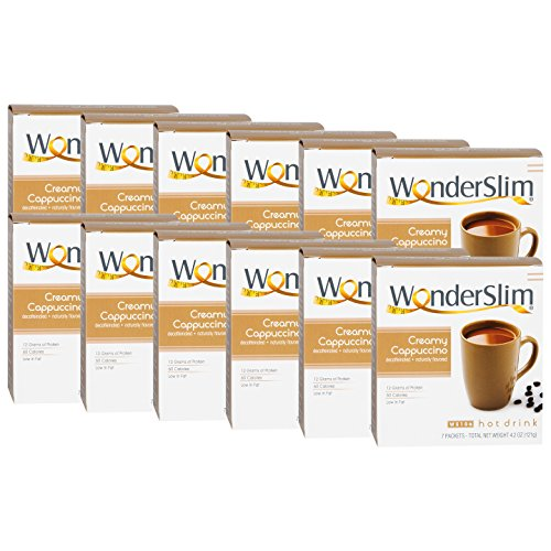 WonderSlim Low-Carb High Protein Diet/Weight Loss Instant Hot Drink Mix - Cappuccino (7 ct) 12 Box Value Pack (Save 15%) - Low Carb, Low Fat, Gluten Free by WonderSlim (Image #2)