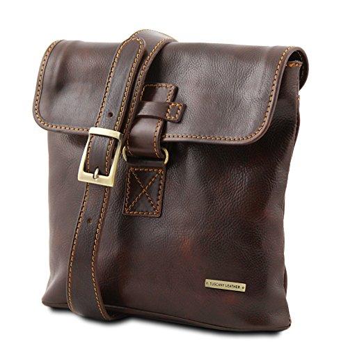 Tuscany Leather - Andrea - Bolso unisex en piel Negro - TL9087/2 Marrón oscuro
