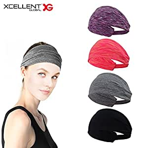 Xcellent Global 4 Pack Sweat Headbands Elastic Wide Head Wraps Hair Bands Unisex for Fashion Workout Gym Fitness Yoga SP120