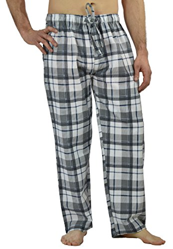 Grey Flannel Pant (Men's Flannel Lounge/Sleep Pants, 100% Cotton Flannel (XL, Grey Check))