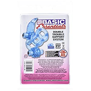 California Exotic Novelties Basic Essentials Double Trouble Vibrating Support System, Blue