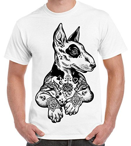 - Pit Bull Terrier with Tattoos Hipster Large Print Men's T-Shirt (3XL, White)