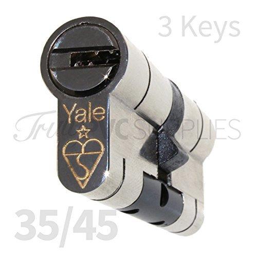 35/45 Nickel YALE Superior Euro Cylinder with 3 Keys Anti Snap/Bump /...