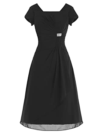 Fanciest Womens Scoop Short Prom Dresses With Sleeves Party Gowns Black UK6