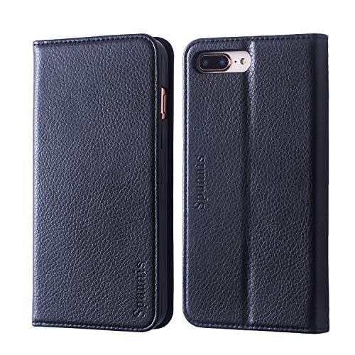 iPhone 7 Plus Wallet Case, iPhone 7 Plus Flip Case, SPUNNIS [Series A117] iPhone 8 Plus Leather Case with Stand [Slim] [Book Design] 3 Card Slot Flip Cover for Apple iPhone 7/8 Plus, Black