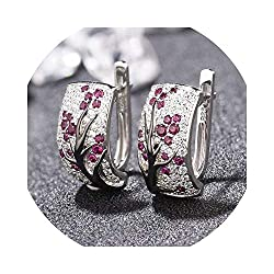 Red Crystal Leaves Earrings for Women