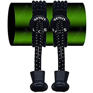 AKTIVX SPORTS Tie Shoe Laces For Golf Shoes – Top Golf accessories For Golfers – Replacement Elastic Golfing Shoelaces & Golf Equipment, Black