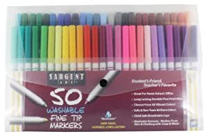 Sargent Art 22-1581 50-Count Fine Tip Washable Marker Packs