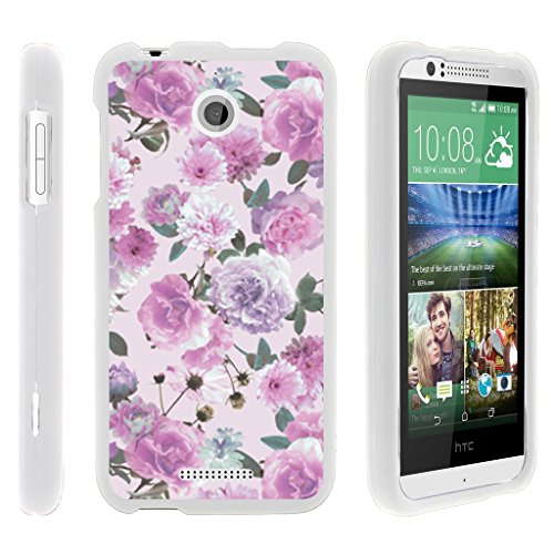 (MINITUTLE Compatible with HTC Desire 510 [Snap Shell] Hard White Plastic Case w/Non Slip Coating Pink Purple Flower )