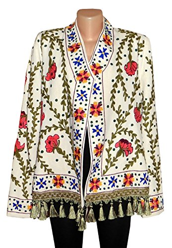 UZBEK TRADITIONAL BUKHARA OUTWEAR COSTUME JACKET SILK EMBROIDERY SUZANI A10251 by East treasures