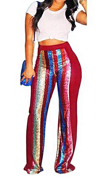 Amazon.com: Pantalones largos de lentejuelas para mujer, con ...