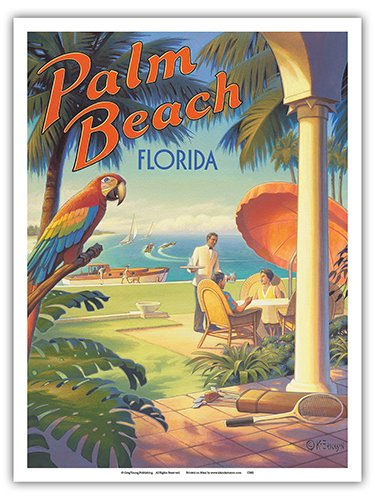Palm Beach, Florida - Vintage Style World Travel Poster by Kerne Erickson - Master Art Print - 9in x 12in