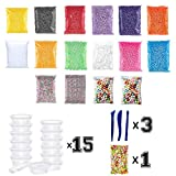 36 DIY Jumbo Set Slime Foam Beads And Slime Supplies For Girls Or Kids, 15 Packs Cheap Styrofoam Big And Small Slme Beads, 2 Packs Glitter Fishbowl Beads, 3 Slime Kits Or Clay Tools For Slime Making