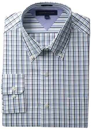 Tommy Hilfiger Men's Long Sleeve Slim Check Shirt Button Down, Blue Multi, 16 32-33