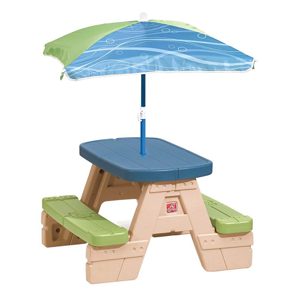 Amazon.com: Step2 Sit and Play Kids Picnic Table With Umbrella: Toys ...