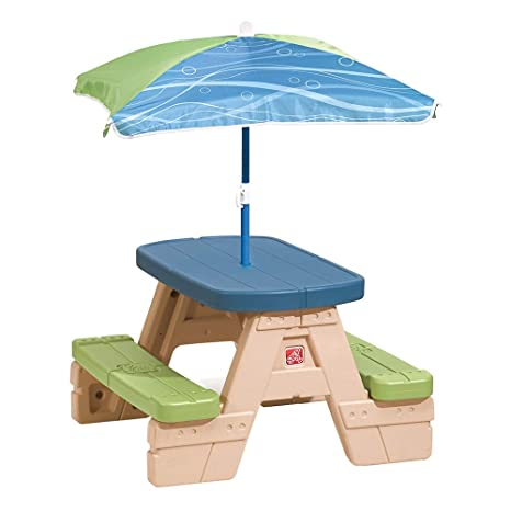Amazon Com Step2 Sit And Play Kids Picnic Table With Umbrella Toys