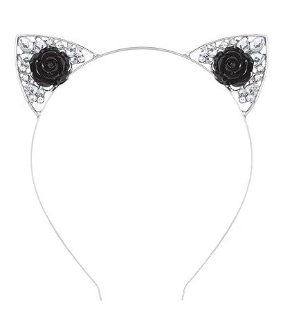 2944a7cac Amazon.com: VK Accessories Crystal Cat Ear Headband for Women (Black ...