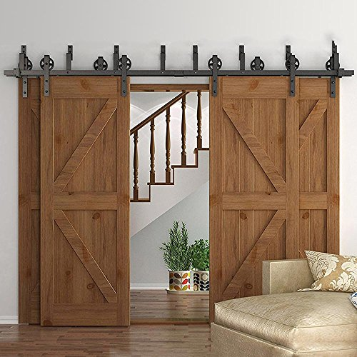 HomeDeco Hardware Rustic 10-16 FT Bypass 4 Doors Barn Door Hardware Sliding Black Steel Big Wheel Roller Track (11 FT Bypass 4 Doors Hardware Kit) by HomeDeco Hardware