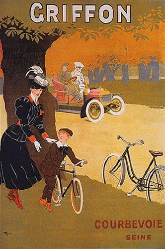 Griffon自転車バイクサイクルCourbevoie母BoyセーヌフランスビンテージポスターキャンバスREPRO   B003E6NPDG