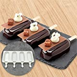 Water Hep Cake Pop Mold 4 Cell Silicone Frozen Ice Cream Mold Juice Popsicle Maker Children Pop Mould Lolly Tray Silicone Molds Cake Size L